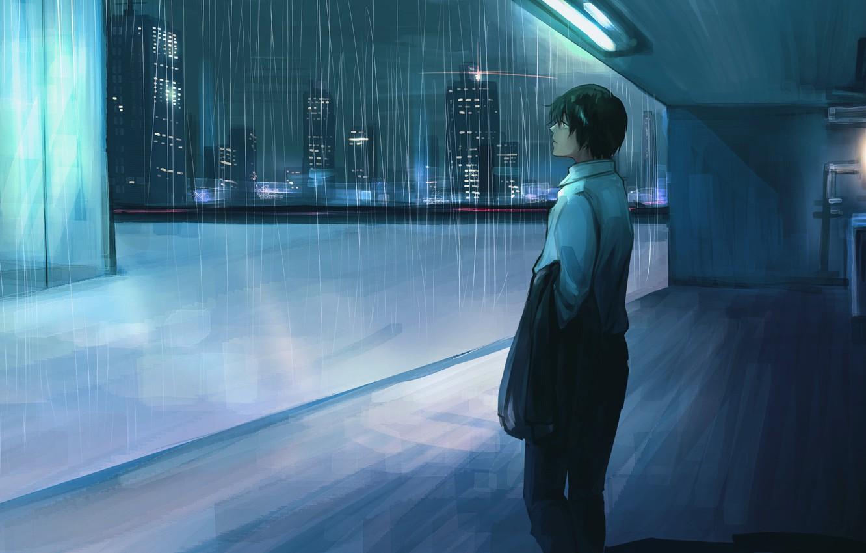 Wallpaper Rain Anime Guy Images For Desktop Section Art Download