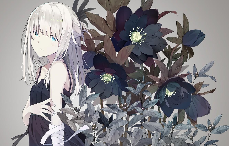 Photo wallpaper look, flowers, anime, girl