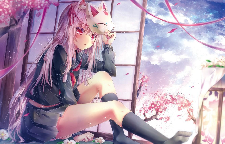 Photo wallpaper the sky, girl, clouds, flowers, tape, tree, anime, petals, Sakura, mask, form, schoolgirl, tetsu tissue