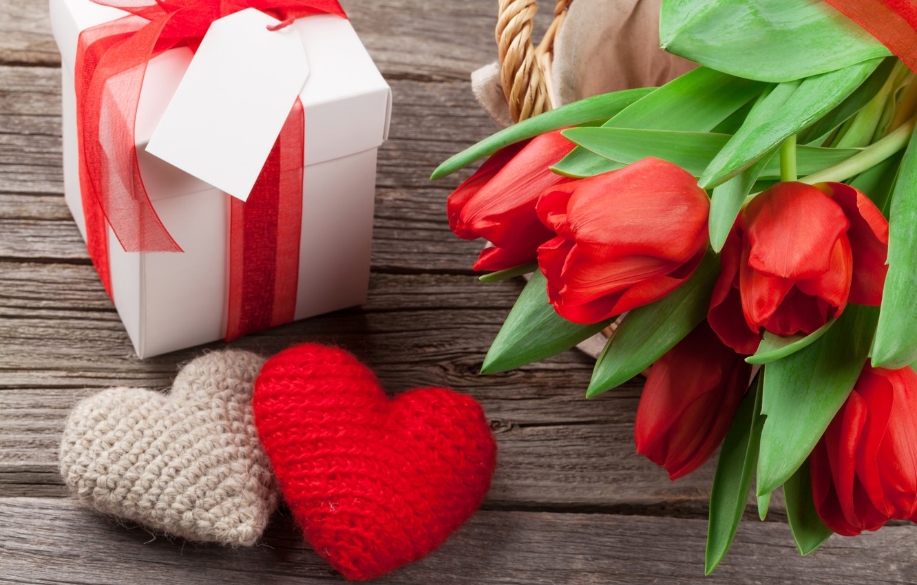 Photo wallpaper love, flowers, gift, bouquet, hearts, tulips, red, love, wood, flowers, cup, romantic, hearts, tulips, Valentine's …