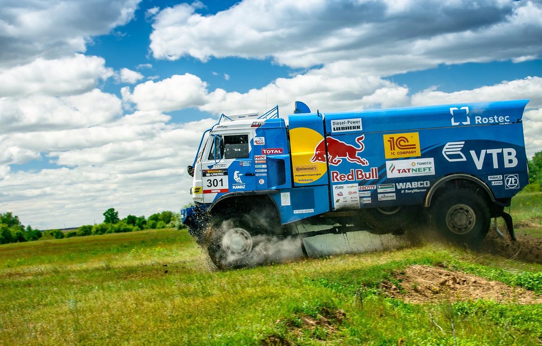 Photo wallpaper Clouds, Sport, Speed, Truck, Race, Master, Russia, KAMAZ, KAMAZ, Best, Master, Redbull