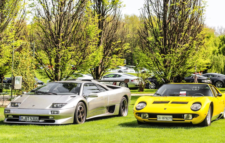 Photo wallpaper Color, Auto, Yellow, Lamborghini, Machine, Classic, Grey, 1971, Lights, Car, Diablo, Supercar, Lamborghini Miura, P400, …