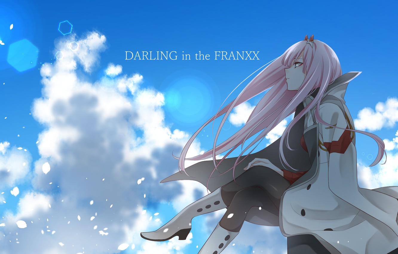 Photo wallpaper girl, The sky, anime, art, Sitting, Darling in the frankxx
