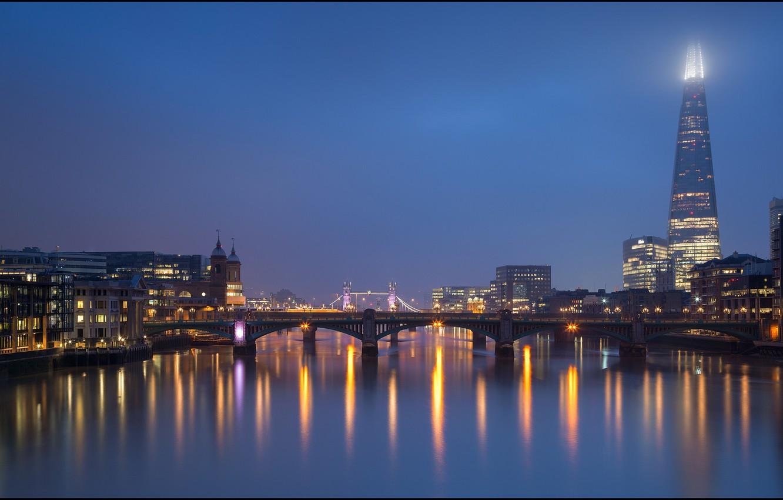 Photo wallpaper night, bridge, lights, river, England, London, Thames