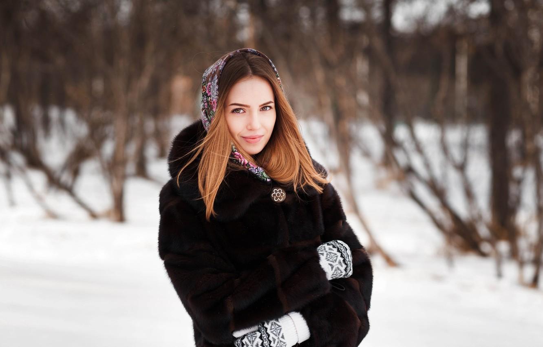 Photo wallpaper look, girl, snow, face, smile, sweetheart, model, portrait, coat, light, brown hair, beautiful, the beauty, …