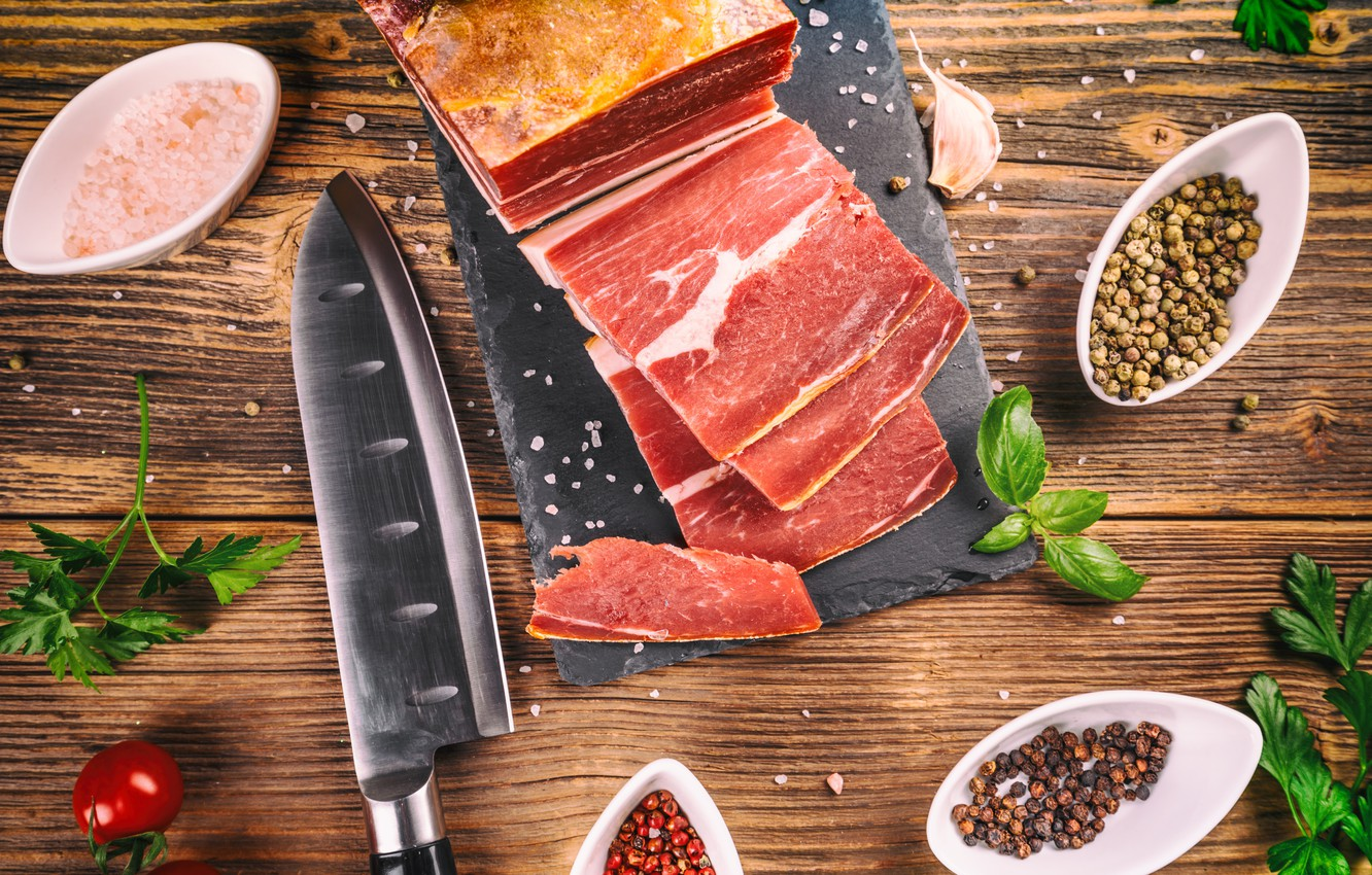 Photo wallpaper knife, cutting, spices, fat