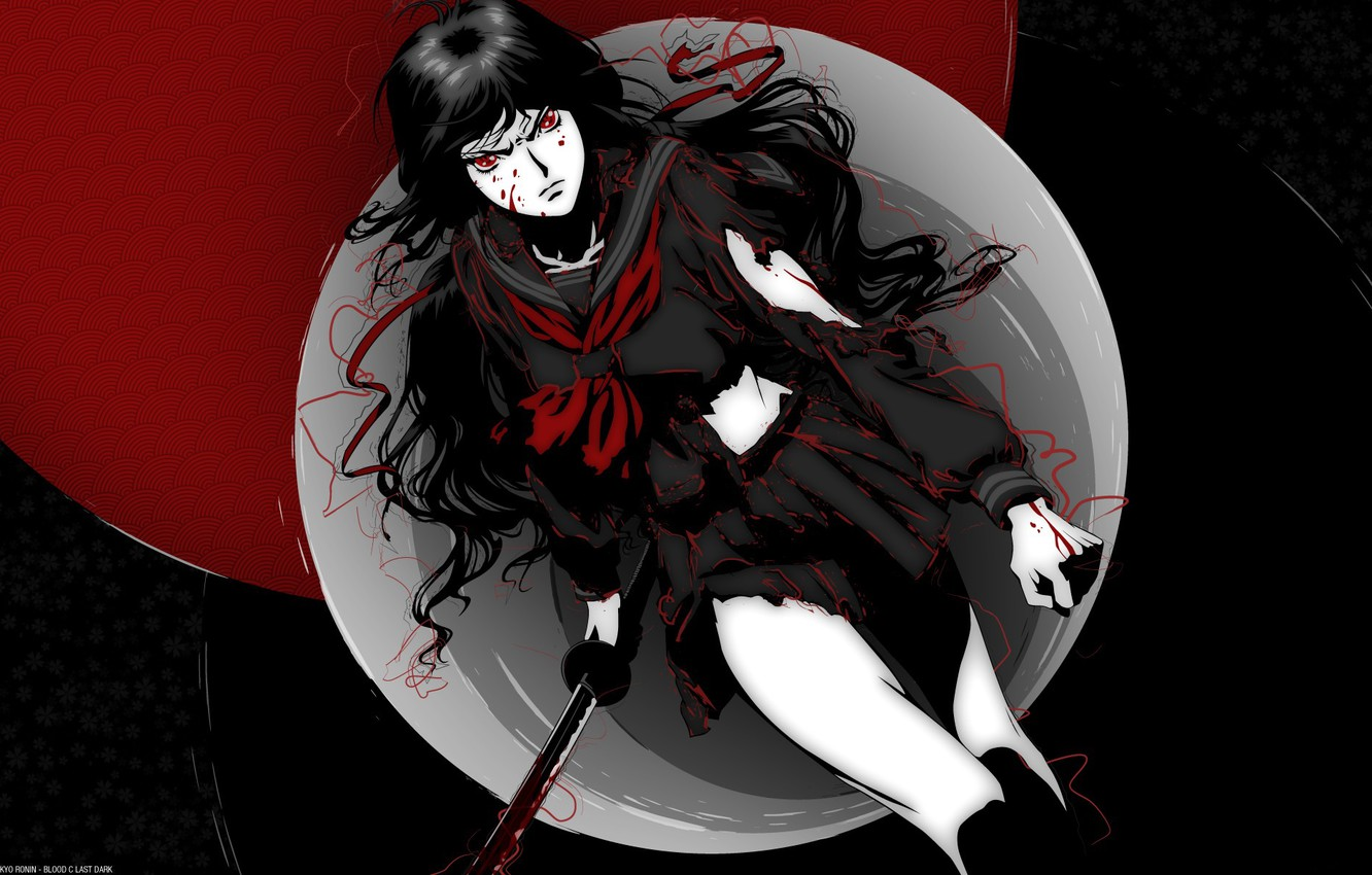 Photo wallpaper darkness, anger, blood, katana, spot, red eyes, fist, torn clothes, cool, Blood-C, Kisaragi I