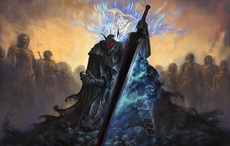 Wallpaper sword, anime, art, armor, Berserk, Guts