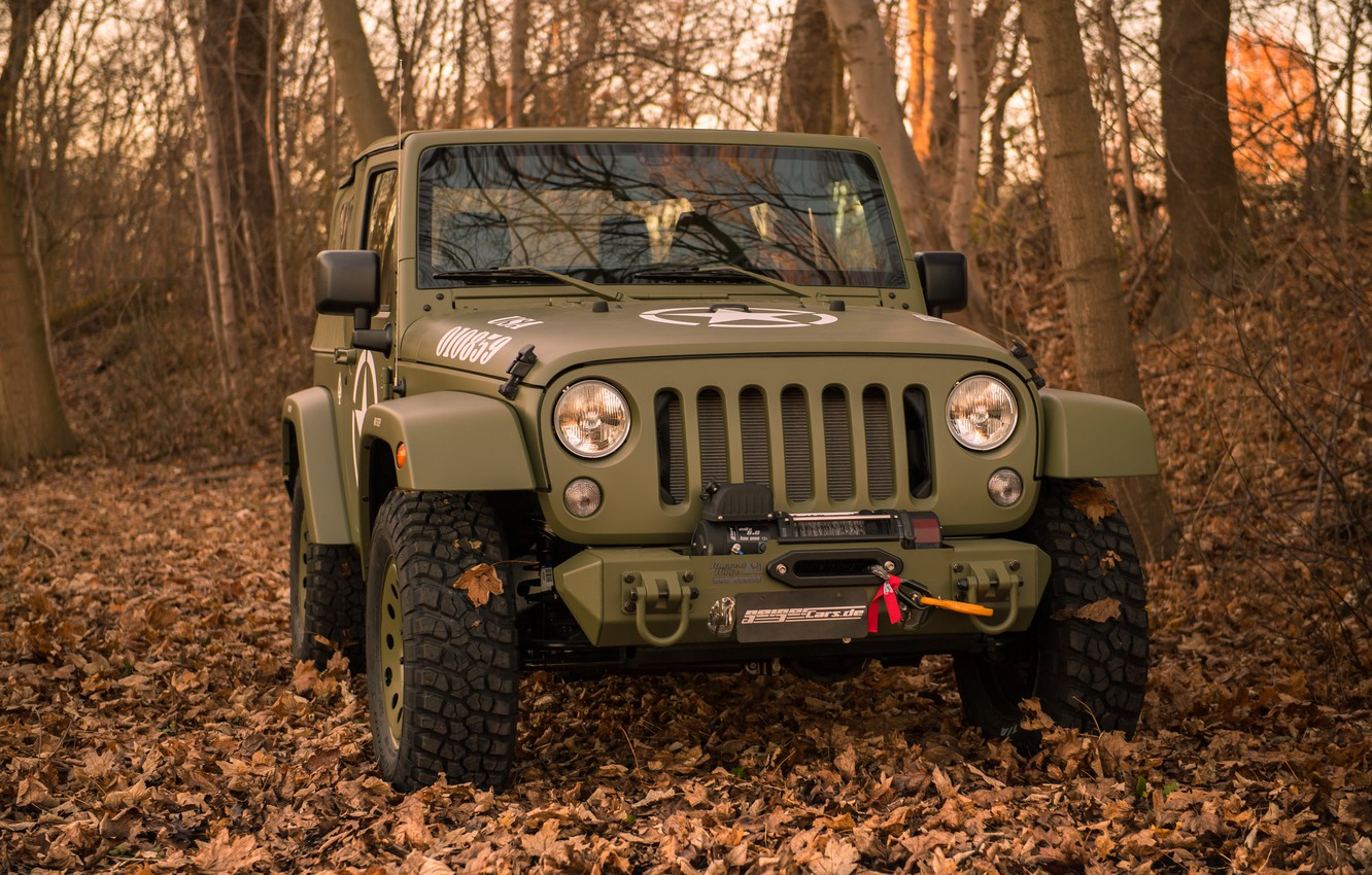 Photo wallpaper autumn, forest, trees, foliage, bumper, 4x4, Jeep, winch, the soft top, Geiger-Willys Limited Edition