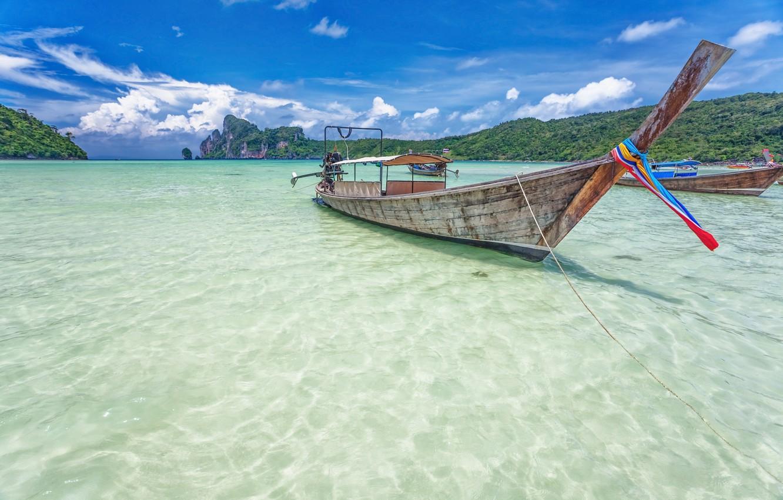 Photo wallpaper sea, water, boat