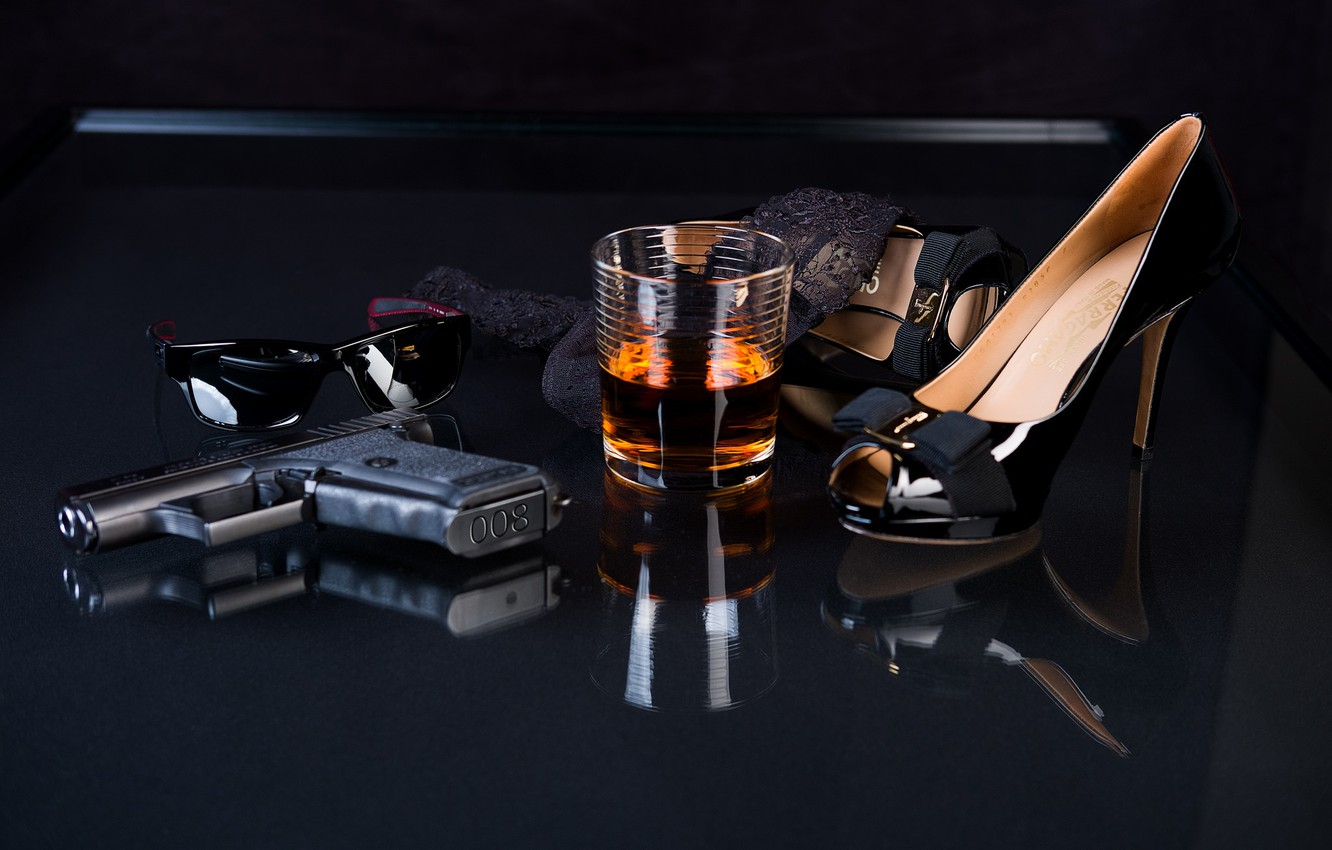 Photo wallpaper glass, gun, glasses, shoes