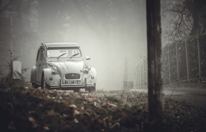 Photo wallpaper machine, fog, street