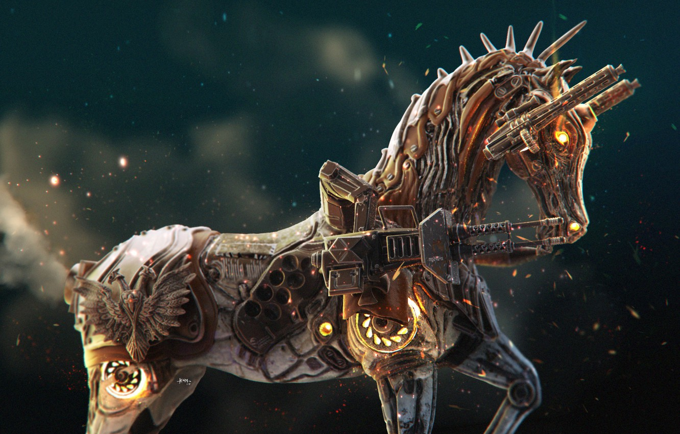 Wallpaper Weapons Sparks Coat Of Arms Horse War Horse Images For Desktop Section Rendering Download