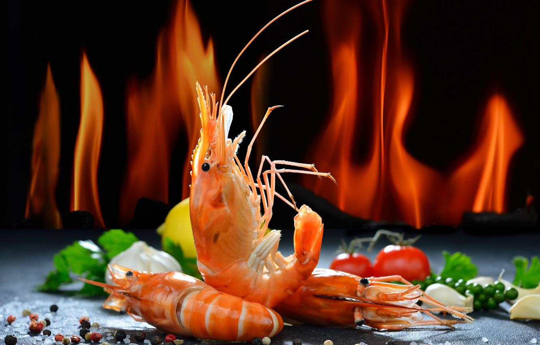 Photo wallpaper greens, lemon, pepper, tomato, shrimp, seafood, salt