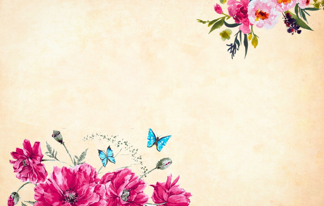 Photo wallpaper butterfly, flowers, Background, Texture