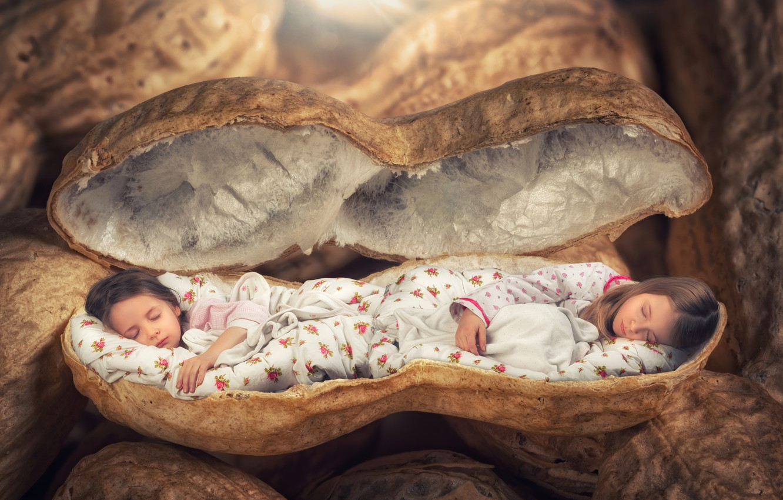 Photo wallpaper children, creative, girls, sleep, shell, Creative, sleep, peanuts, Sleep, Little girls