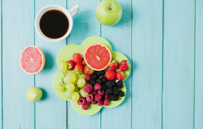 Photo wallpaper berries, coffee, Breakfast, grapes, fruit