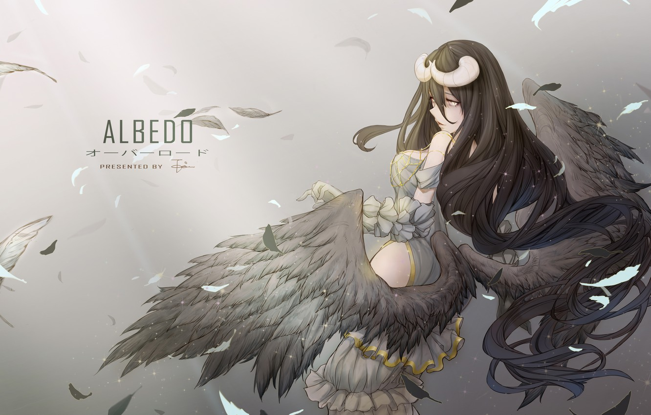 Wallpaper Girl Wings Anime Feathers Art Horns Albedo Overlord Images For Desktop Section Sejnen Download