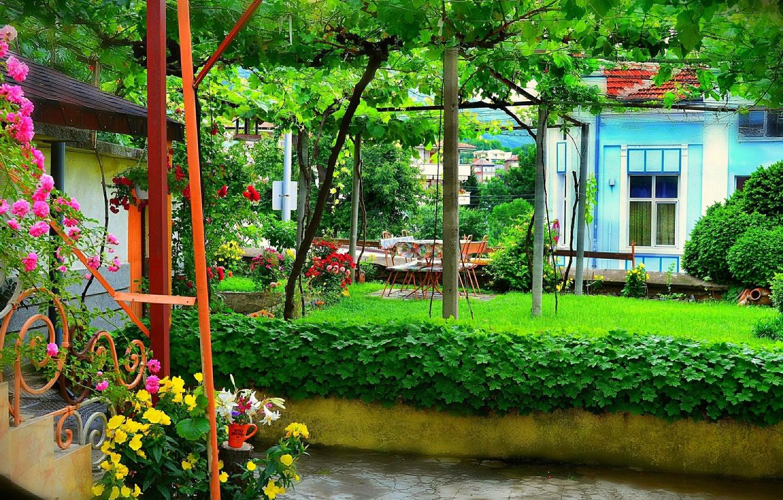 Photo wallpaper Flowers, House, Summer, House, Nature, Flowers, Summer, Yard