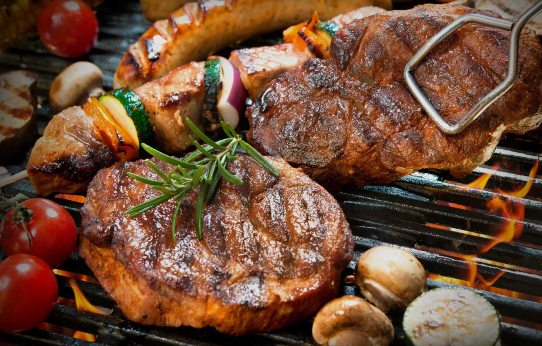 Photo wallpaper fire, mushrooms, meat, vegetables, steak, grill