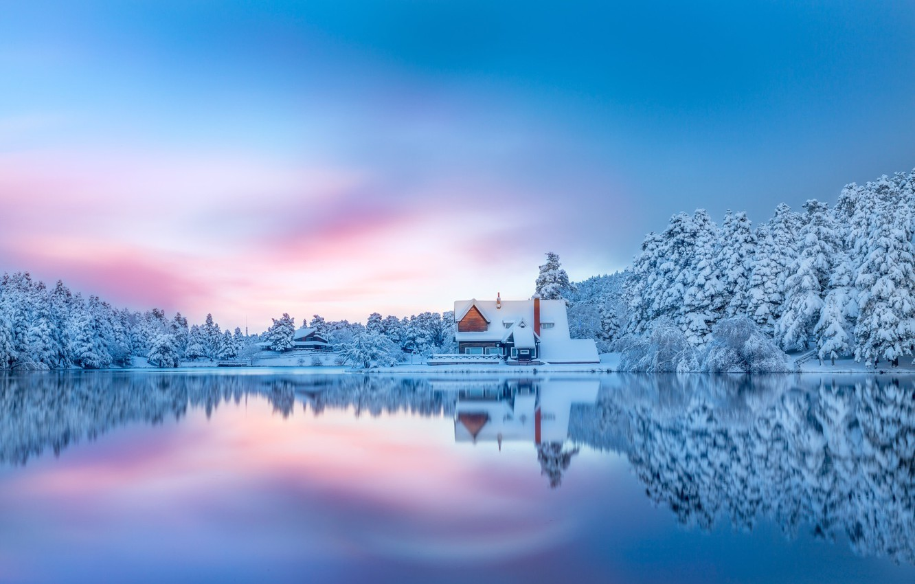 Photo wallpaper winter, forest, snow, lake, house
