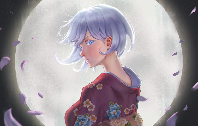 Photo wallpaper look, girl, the moon, yukata