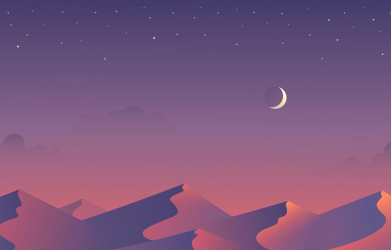 Photo wallpaper stars, night, the dunes, the moon, desert