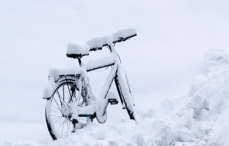Photo wallpaper winter, snow, bike