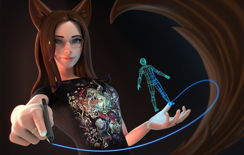 Photo wallpaper girl, art, artist, ears, Vanessa, Antonio Mello, 3D pen