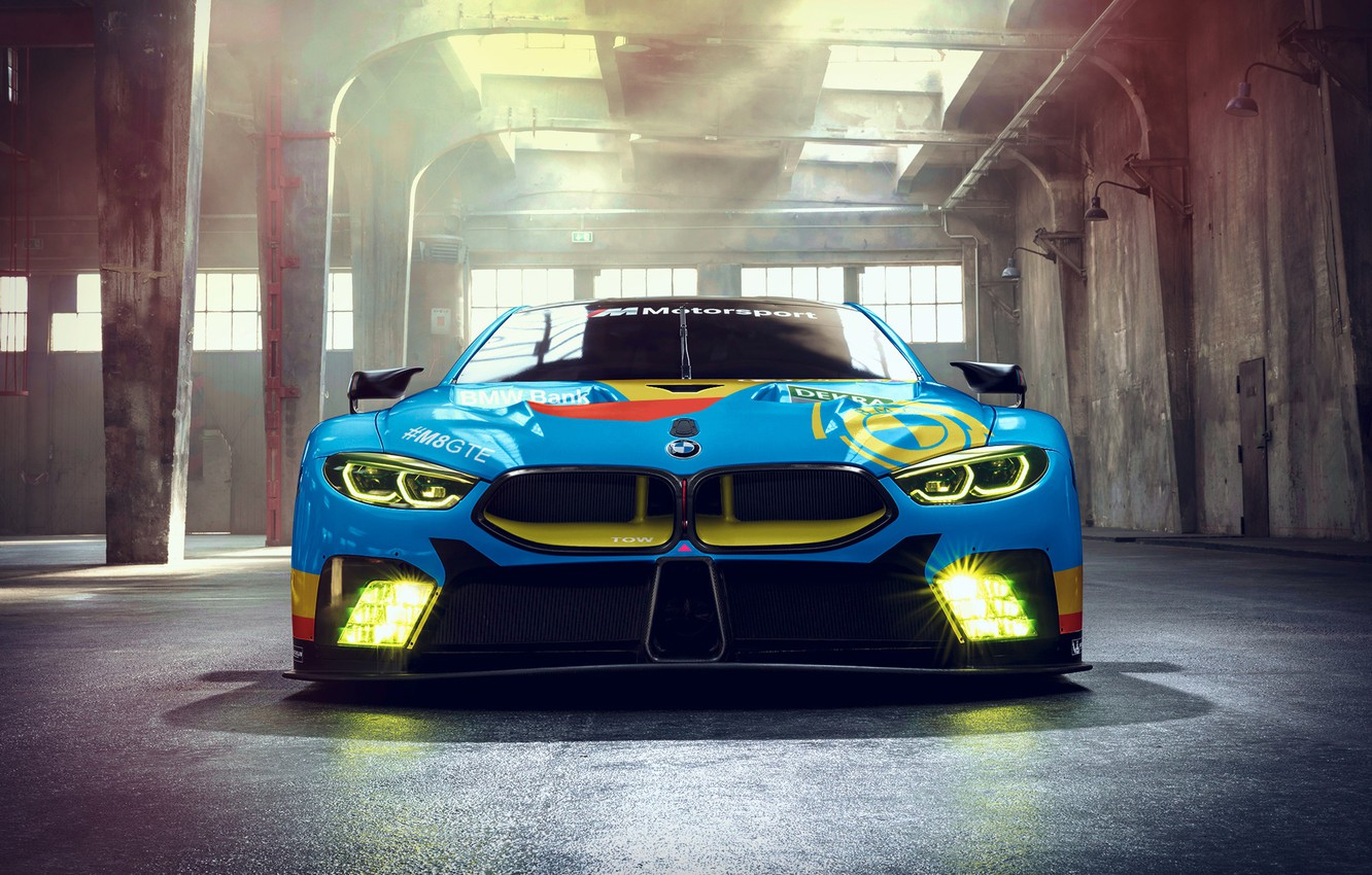 Photo wallpaper racing car, front view, 2018, GTE, BMW M8