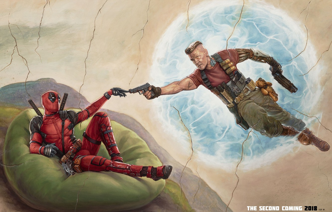 Photo wallpaper weapons, fiction, guns, figure, art, costume, Ryan Reynolds, Ryan Reynolds, Deadpool, comic, katana, MARVEL, Teddy ...
