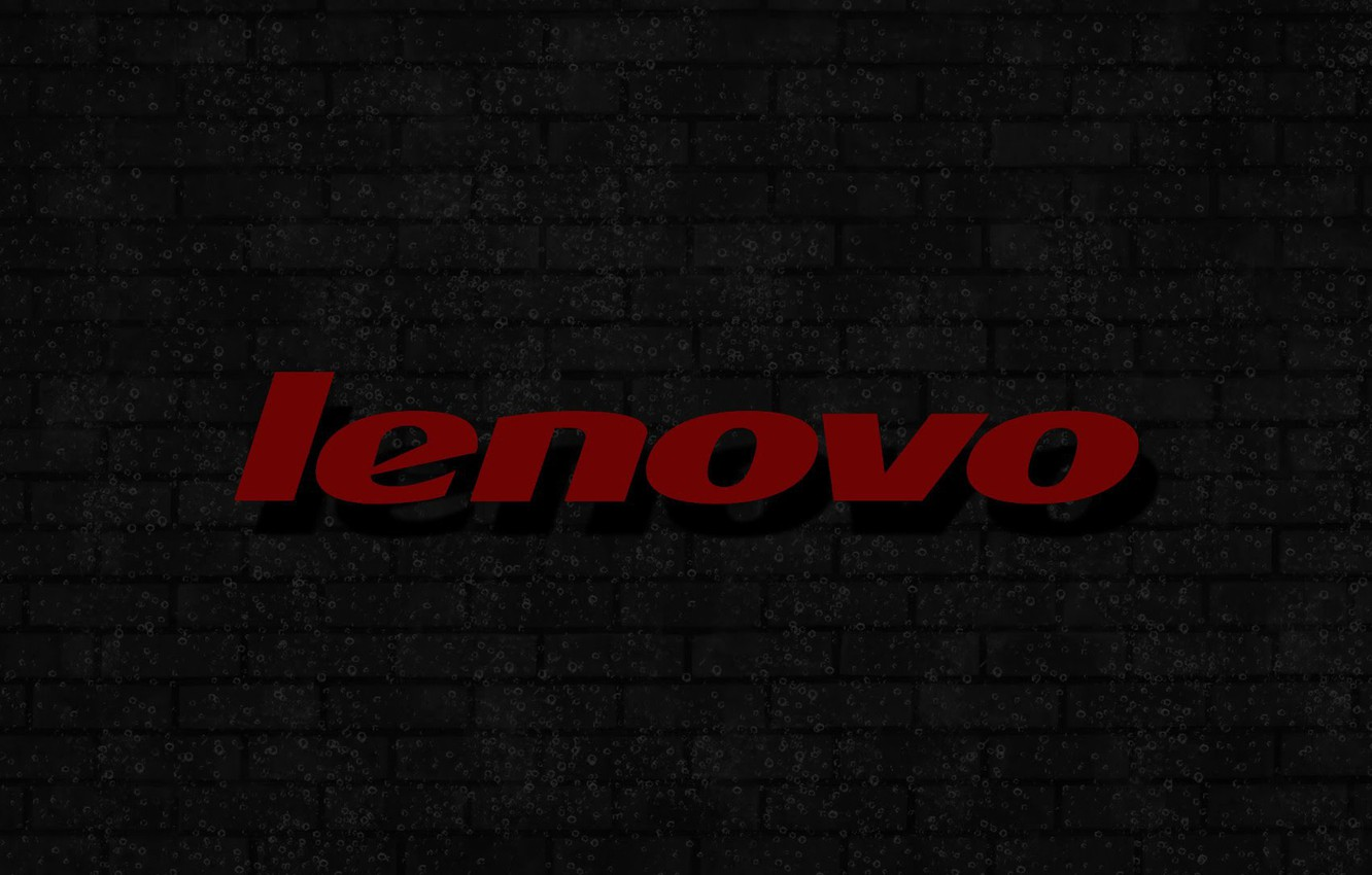 Photo wallpaper bubbles, logo, background, brick wall, lenovo, gray wall, red lettering