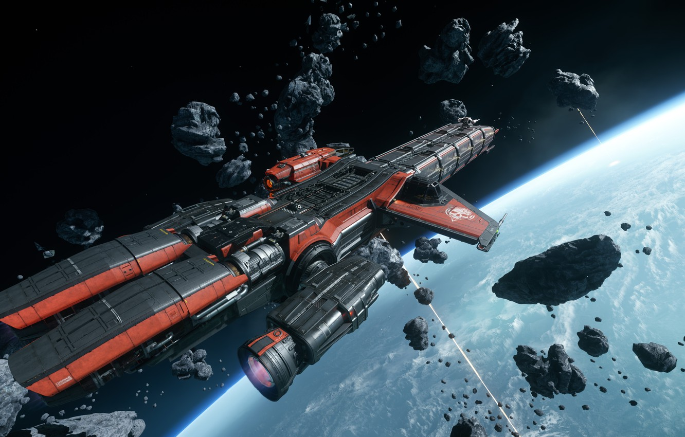 Photo wallpaper flight, starship, Star Citizen, Caterpillar