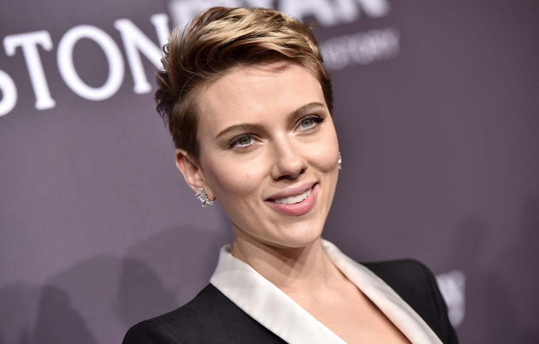 Photo wallpaper smile, actress, celebrity, Scarlet Johansson
