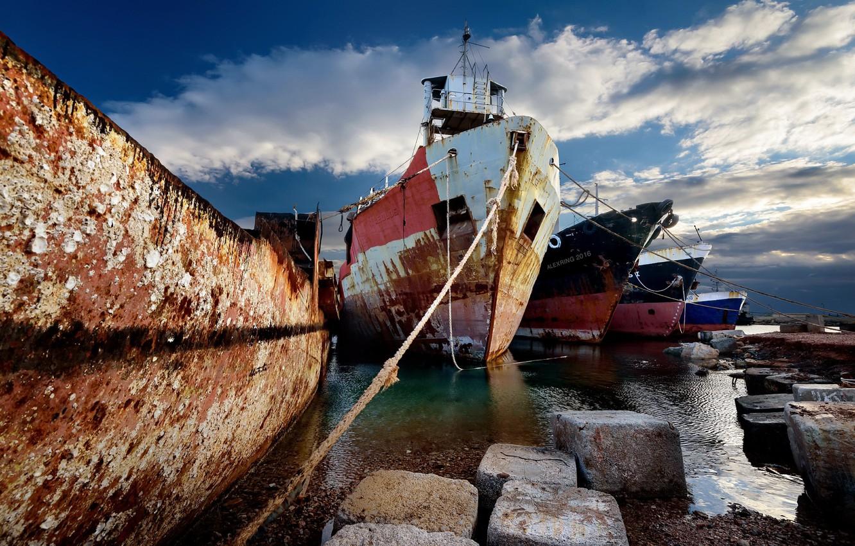 Photo wallpaper sea, ships, pier