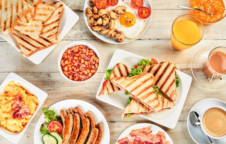 Photo wallpaper sausage, coffee, Breakfast, juice, scrambled eggs, sandwich, bacon