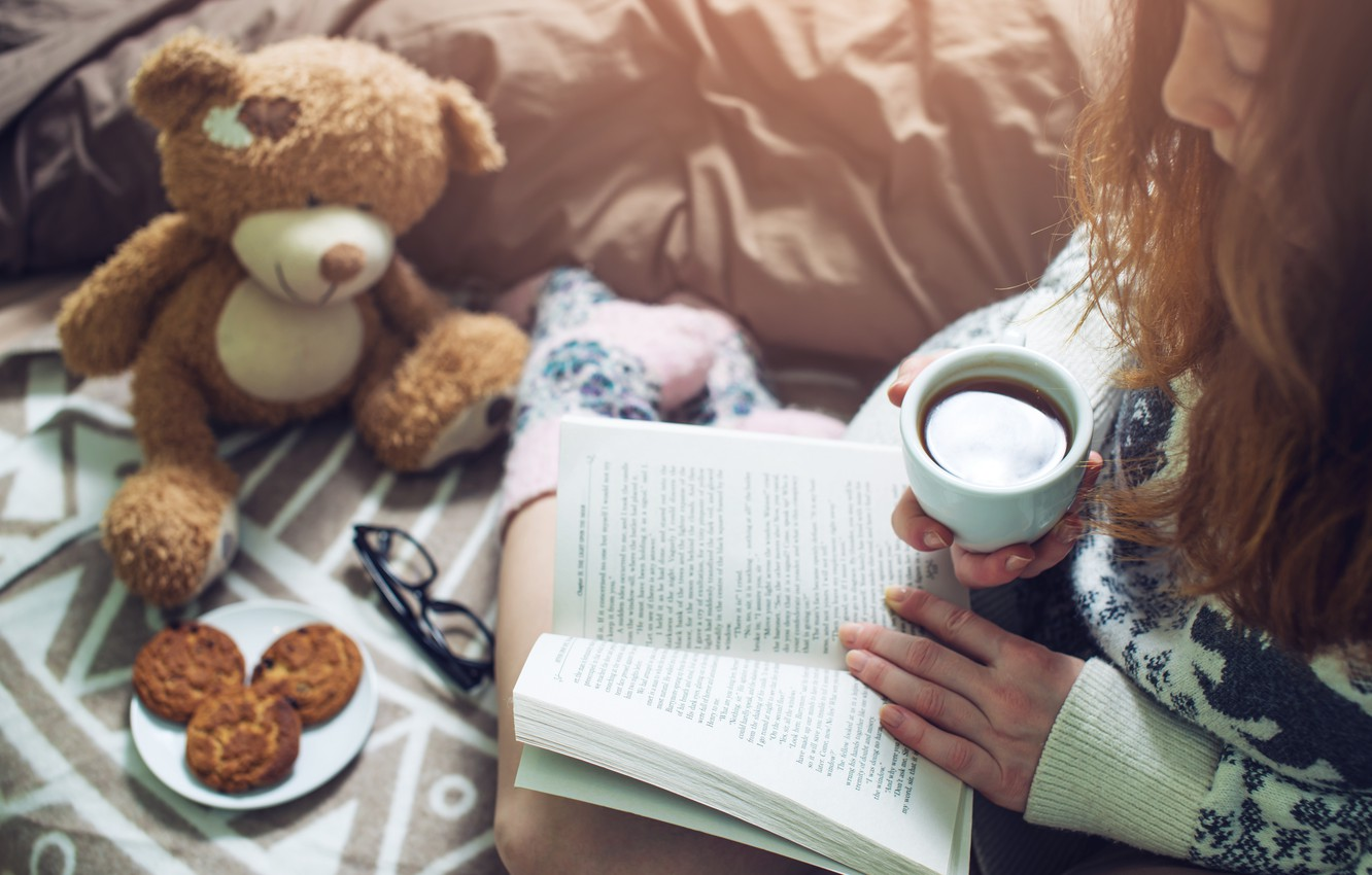 Photo wallpaper girl, coffee, cookies, Girl, Cup, bed, book, book, bed, coffee, reading, socks, warm, drinking