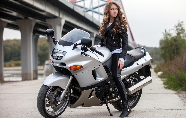 Wallpaper Girl Jacket Hairstyle Motorcycle Brown Hair Bike In Black Images For Desktop Section Devushki Download