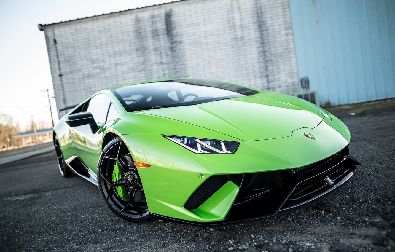 Photo wallpaper Lamborghini, Green, VAG, Huracan, Sight