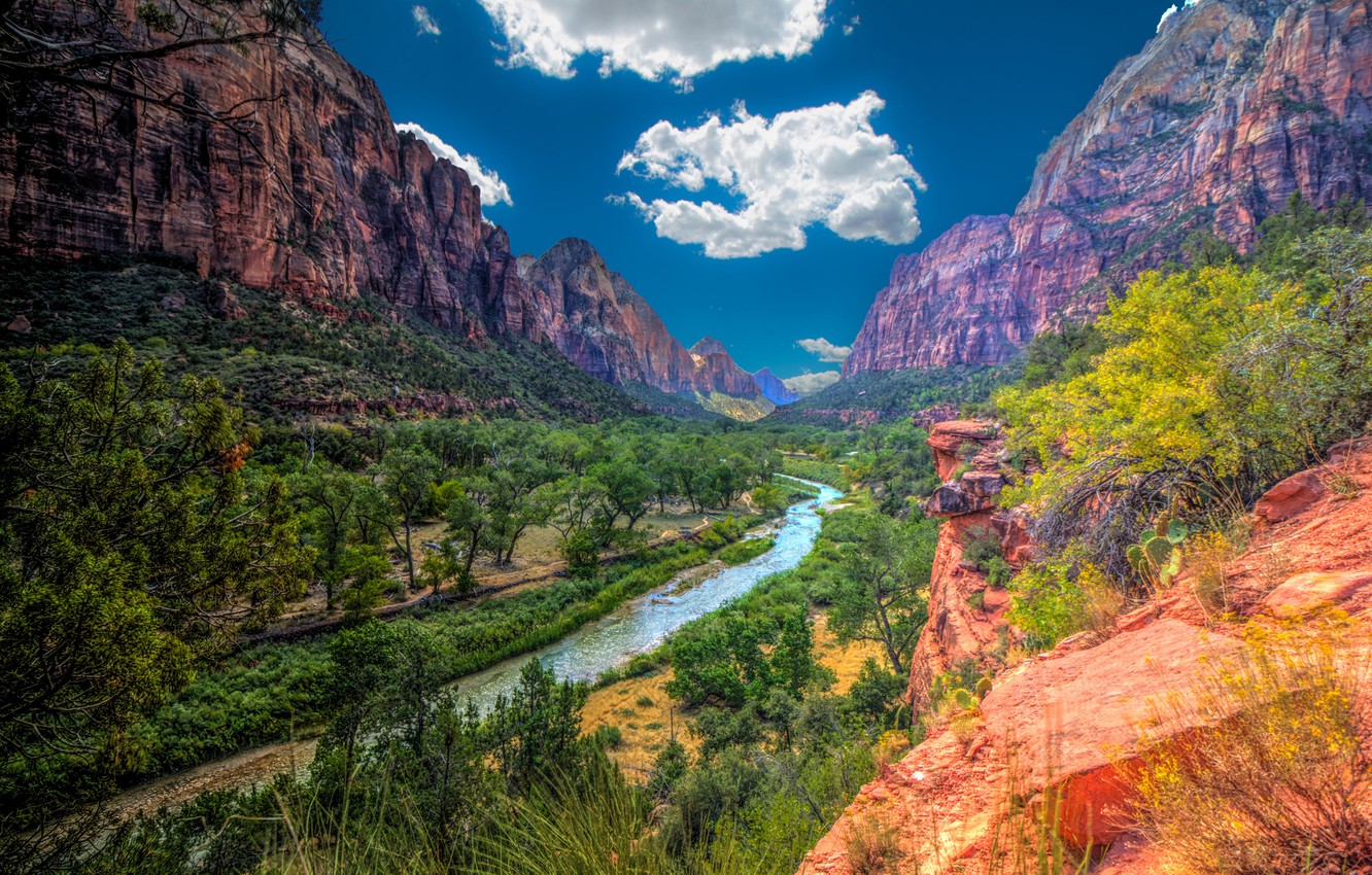 Wallpaper The Sky The Sun Clouds Trees Mountains River