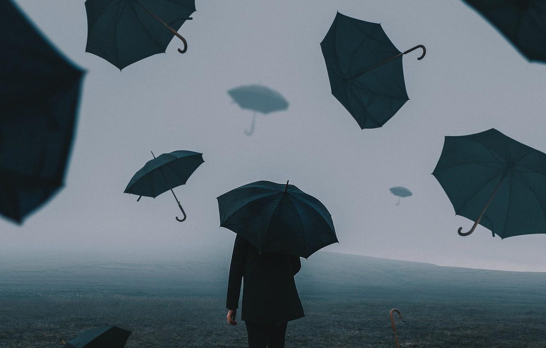 Photo wallpaper field, people, umbrellas, Bird Man
