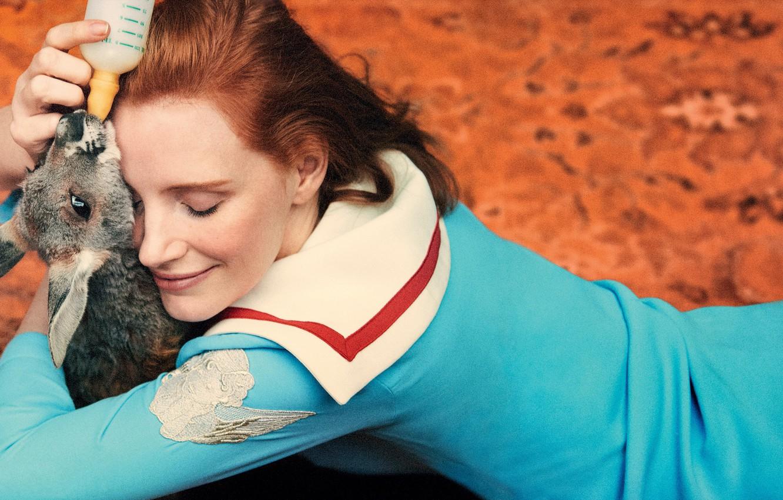 Photo wallpaper girl, actress, kangaroo, Jessica Chastain