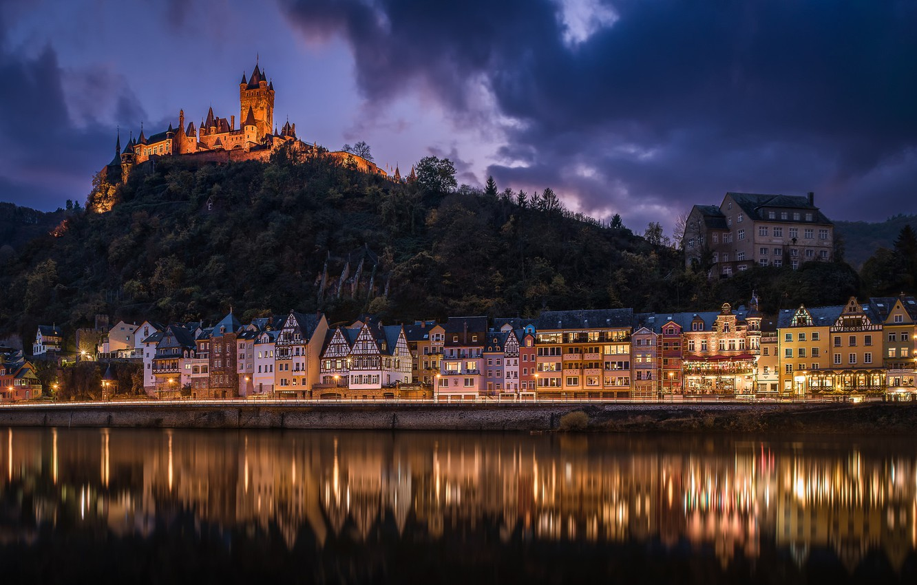 Photo wallpaper night, river, castle, building, home, Germany, hill, Germany, Cochem, Cochem, the river Moselle, Moselle River, …