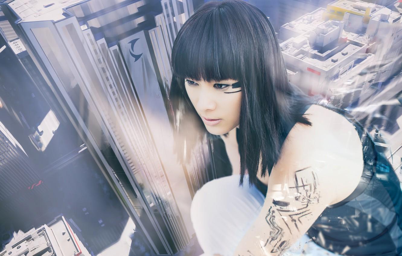 Photo wallpaper girl, the city, cosplay, Faith, Mirror's Edge