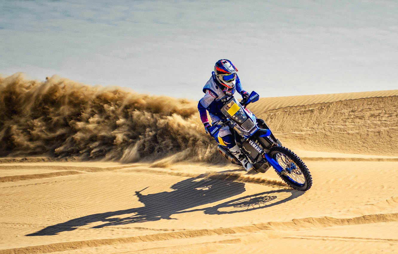 Photo wallpaper Sand, Speed, Motorcycle, Racer, Moto, Yamaha, Rally, Dakar, Dakar, Rally, Dune, Sands