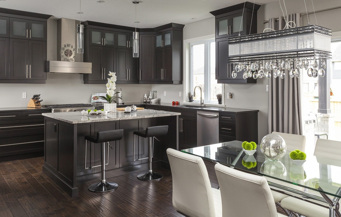 Photo wallpaper table, furniture, chairs, kitchen, chandelier, .