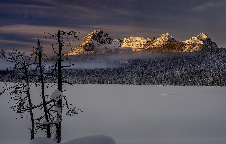 Photo wallpaper winter, mountains, morning