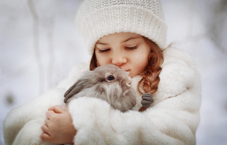 Photo wallpaper hat, rabbit, girl, friends, pigtail, coat