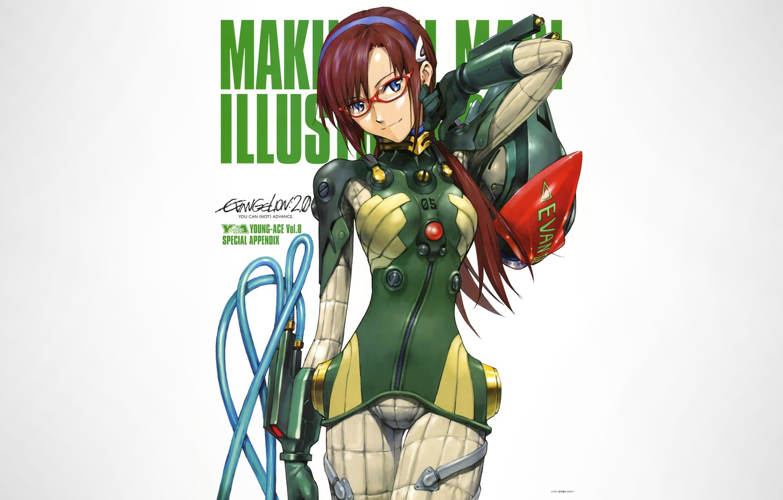 Photo wallpaper girl, Neon Genesis Evangelion, anime, blue eyes, glasses, white background, simple background, Makinami Mari Illustrious, …