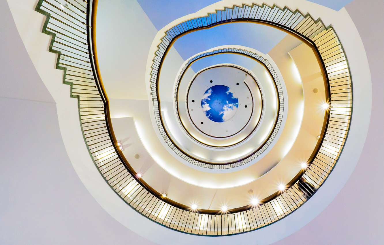 Photo wallpaper spiral, railings, spiral staircase